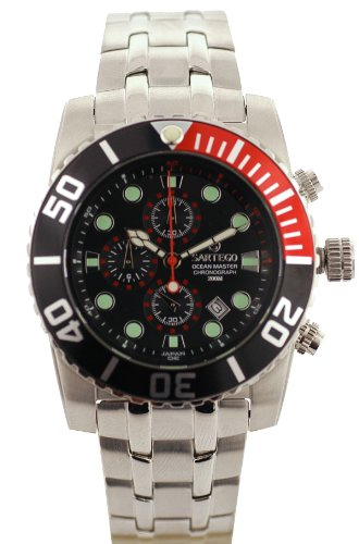 Stainless Steel Ocean Master Diver Chronograph Black Dial Bezel Red Accents