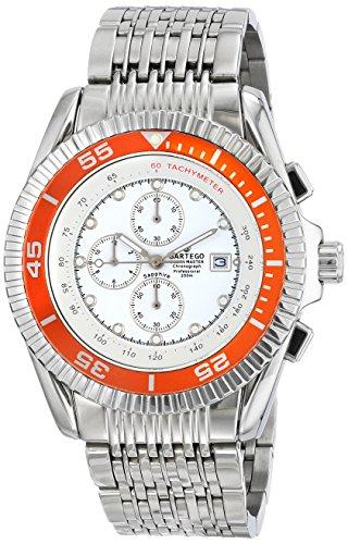 Stainless Steel Ocean Master Diver Chronograph White Dial Orange Bezel