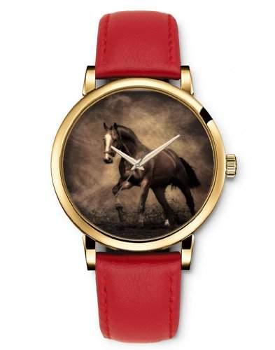 iCreat Damenarmbanduhr Golden Uhr mit Rot Leder Laufendes Pferd