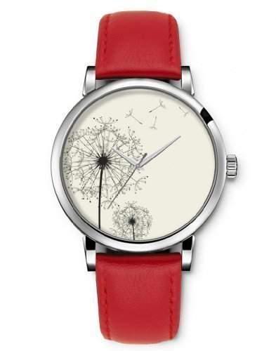 armbanduhr silber, iCreat Damen Armbanduhr Silber - Loewenzahn im Wind