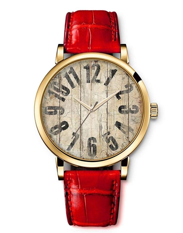 iCreat Quarz Damen Analog Armbanduhr Uhr Rot echte Leder Schnalle Schoenes Zifferblatt mit Holz-Muster
