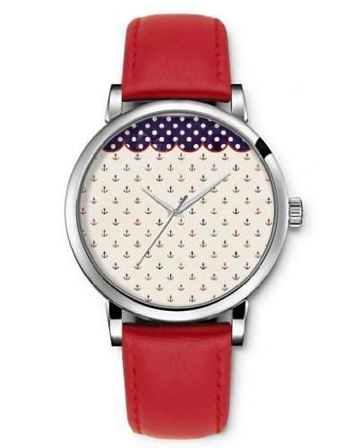 Armbanduhren Damenuhren, Quarz Damen Analog iCreat Rot echte Leder Schnalle Schoenes Zifferblatt mit Anker