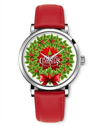 Armbanduhr Vintage Retro Blume Damen Basel Stil geometrischen Fancy Leather Frohe Weihnacht Kranz roter Schleife iCreat