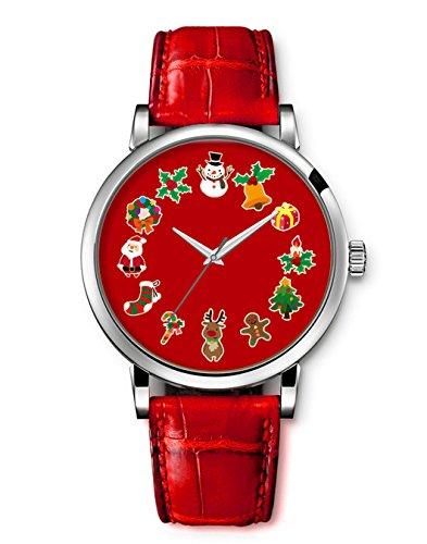 Armbanduhr Vintage Retro Blume Damen Basel Stil geometrischen Fancy Leather Frohe Weihnachten Weihnachtsmann elk Socken iCreat