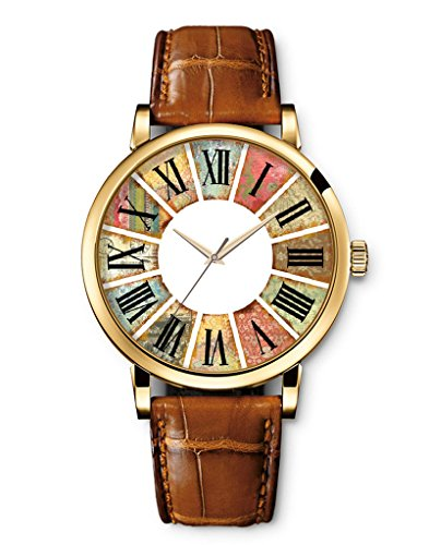 Vintage Blume Basel Stil Quarzuhr Lederarmband Uhr Top Watch Retro roemischen Ziffern Braun Armband von iCreat