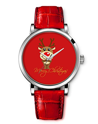 Damen Armbanduhr Vintage Blume Basel Stil Quarzuhr Lederarmband Uhr Top Watch Frohe Weihnachten Elch Cartoon iCreat