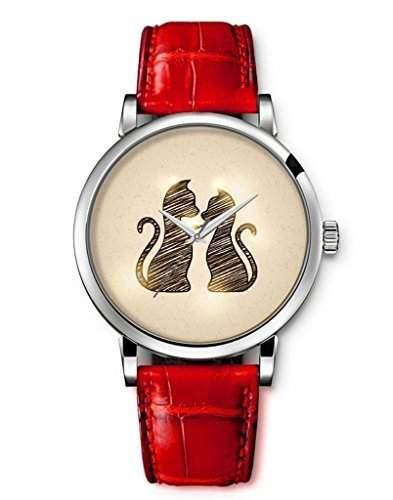 iCreat Damen Analog Armbanduhr Rot echte Leather Schnalle Schoenes Zifferblatt mit Niedliche Katzen-Liebhaber