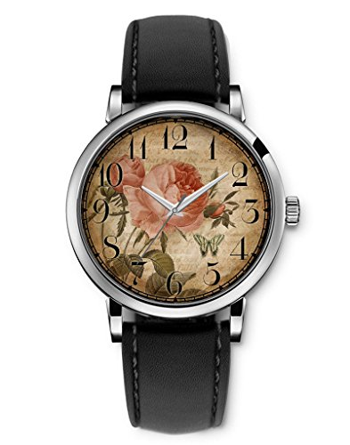 Damenuhr Leder Armbanduhr Vintage Retro Damenarmbanduhr Damen Neu Retro rose butterfly Schwarz Armband von iCreat