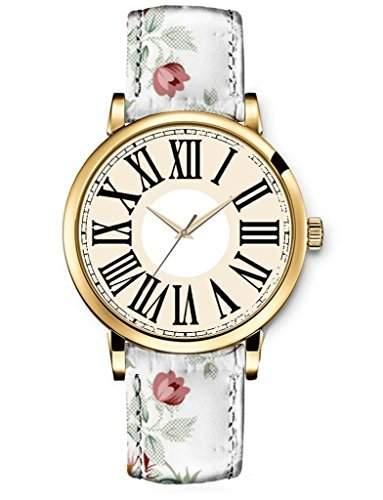 Damen Uhr Armbanduhr Uhren Quartz Einzigartige iCreat Design Weisse Rosen Retro Blume Blatt Beige suess Maedchen uhren