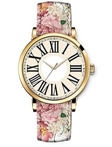 Uhr Damen Armbanduhr Uhren iCreat Quartz Einzigartige Design Pfingstrose rosa Pfingstrose Blumen