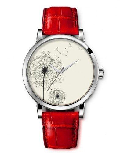 iCreat Quarz Damen Analog led armbanduhr Uhr Rot echte Leder Schnalle Schoenes Zifferblatt mit Loewenzahn im Wind
