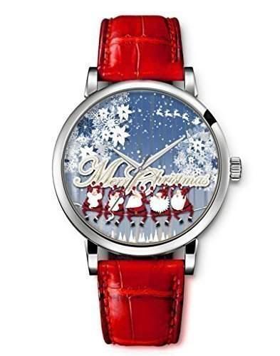 iCreat Damen  Maechen Armbanduhr Rot echte Leather Schoenes Zifferblatt