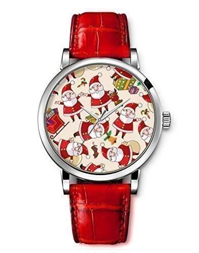 iCreat Damen Analog Armbanduhr Rot echte Leather Schoenes Zifferblatt mit Frohe Weihnachten Weihnachtsmann