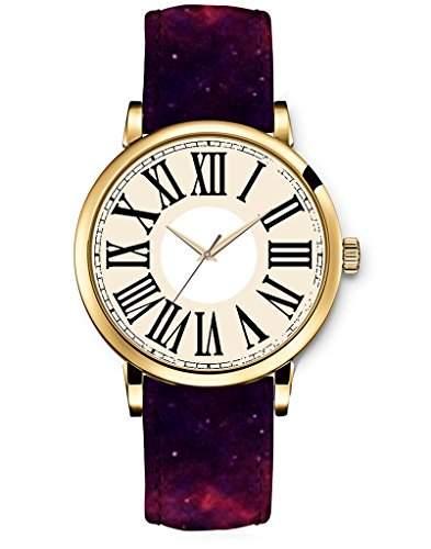 Armbanduhr Uhren Damenuhr Damenarmbanduhr Laydies Watch R?misch Ziffern Leder Sterne Nebel Wolken schwarz fashion COOL