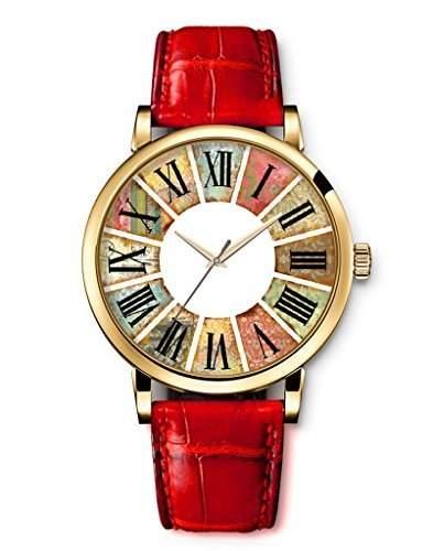 New Vintage-Uhr Armbanduhr-Leder fuer Damen - English Alphanumeric Colorful