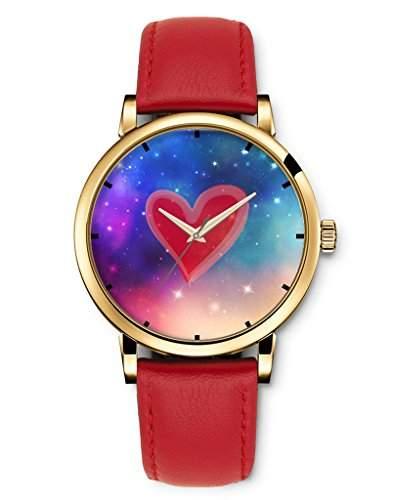 Fashion Retro Armbanduhren Leder Band Quarz-Armbanduhr - Colorful Star Galaxy Galaxy Ich liebe dich