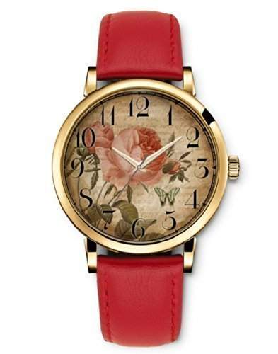 iCreat Damen Analog Armbanduhr Rot echte Leather Schnalle Schoenes Zifferblatt mit Vintage Retro Blumen