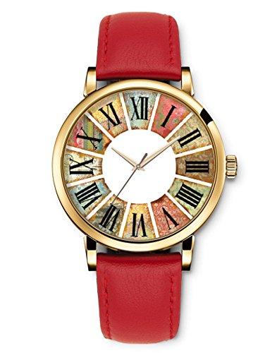 Uhren 2015 neue Leder Maedchen Retro Roemische Ziffern Colorful