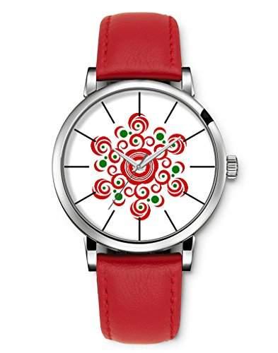 Armbanduhren, Damenmode Genf roemischen Ziffern Leder Analog Quarz Frohe Weihnachten red Schneeflocke iCreat