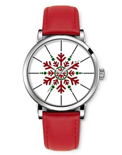 Armbanduhren Damenmode Genf roemischen Ziffern Leder Analog Quarz Frohe Weihnacht-Schnee iCreat
