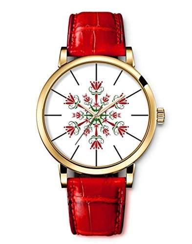 Armbanduhren Damenmode Genf roemischen Ziffern Leder Analog Quarz Frohe Weihnacht-Schnee-Blume iCreat