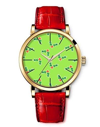 Armbanduhren, Damenmode Genf roemischen Ziffern Leder Analog Quarz Frohe Gruen Christmas flower iCreat