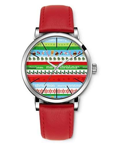 Armbanduhren, Damenmode Genf roemischen Ziffern Leder Analog Quarz Frohe Weihnachten Bluetenfarbe iCreat