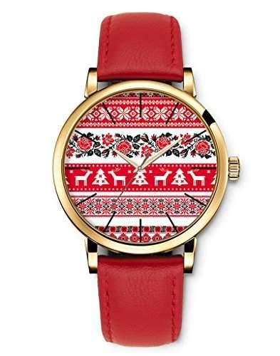 Armbanduhren Damenmode Genf roemischen Ziffern Leder Analog Quarz Frohe Weihnachten schwarze und rote Rose elk iCreat