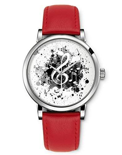 Damenuhr Analog Armbanduhr iCreat Rot echte Leather Schnalle Schoenes Zifferblatt mit Musik Note Schwarz Weiss