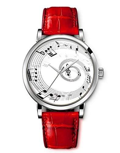 iCreat Damen Analog Armbanduhr Rot echte Leather Schnalle Schoenes Zifferblatt mit Musik Note Kreis Schwarz Weiss