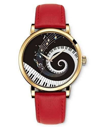 Damenuhr Analog Armbanduhr iCreat Rot echte Leather Schnalle Schoenes Zifferblatt mit Musik Note Piano Keys