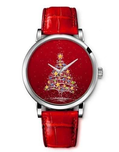Uhr Armbanduhr Quarz Damen Analog iCreat Rot echte Leder Schnalle Schoenes Zifferblatt - Rot