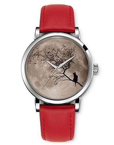iCreat Damen Analog Armbanduhr Rot echte Leather Schnalle Schoenes Zifferblatt mit Baum Auf Mond