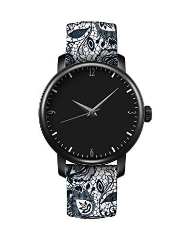 Damen Armbanduhr Vintage Blume Basel Stil Quarzuhr Lederarmband Uhr Top Watch iCreat