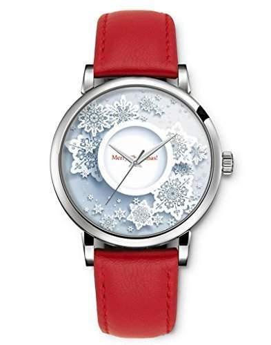 Damenuhr Analog Armbanduhr iCreat Rot echte Leather Schnalle Schoenes Zifferblatt mit White Flower