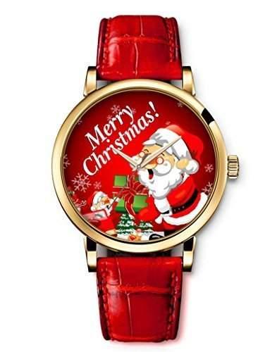 iCreat Damen Analog Armbanduhr Rot echte Leather Schnalle Schoenes Zifferblatt mit Frohe Weihnachten Weihnachtsmann