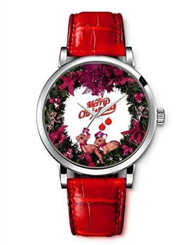 Damen Armbanduhr Leder Frohe Weihnachten niedliche Elch iCreat