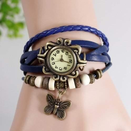 Revesun Frauen- Weinlese-Eulen -Anh?nger Lederband Quarz Analog Armband -Uhr-blau