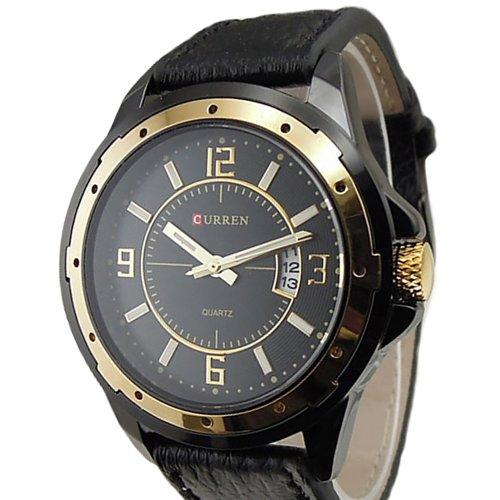 CURREN Goldene Quarz Herren Armbanduhr DATE Leder Watch Sport Sportuhr