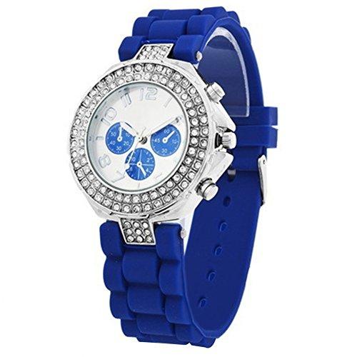Damenuhr Damen Silikon Armband Uhr Sport Stilvoll Kinderuhr Strass Dunkelblau