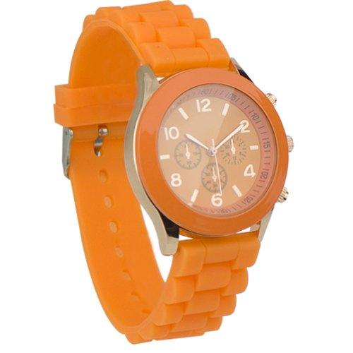 Unisex Uhr Silikon Jelly Damen Herren Quarz Sport Stilvoll Armbanduhr Orange