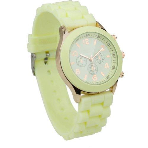 Unisex Uhr Silikon Jelly Damen Herren Quarz Sport Stilvoll Armbanduhr Beige