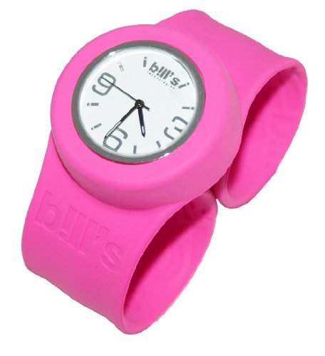 Bills Classic Watch Silikonuhr SlapBand Unisex Analog, pinkes Band, weisser Uhreneinsatz