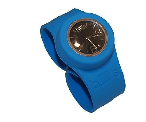 Bills ClassicWatch KombiSilikon Uhr Slap Schlagband Herren,Damen,blaues Band,schwarzer Uhreneinsatz Analog Quarz