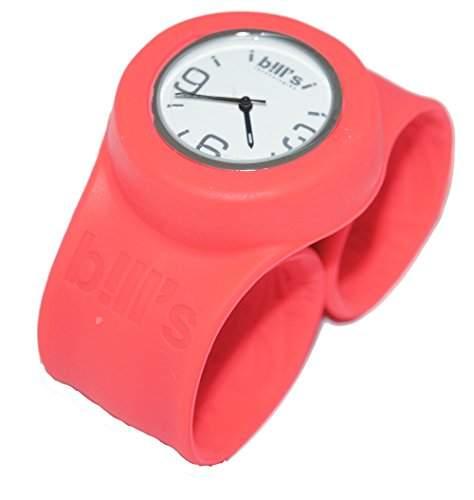 Bills Classic Watch Silikon Slapband Schlagband Herren Damen koralle Band weisser Uhreneinsatz Analog Quarz BLCLAM15