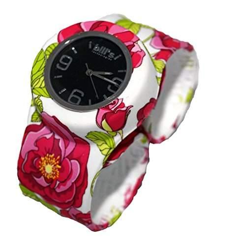 Bills Classic Watch Silikon Uhr Slap Band Schlagband Herren, Damen, Rosen Band und schwarzer Uhreneinsatz Analog Quarz