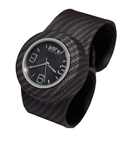 Bills Classic Watch, Silikonuhr SlapBand Unisex Analog, karbonschwarz Band, schwarzer Uhreneinsatz