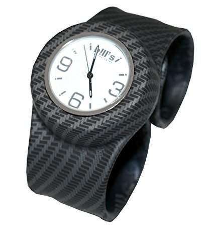 BillsClassicWatch KombiSilikon Uhr SlapBand Unisex,Herren,Damen,Kinder, karbonschwarz Band,weisserUhreneinsatz Analog Quarz