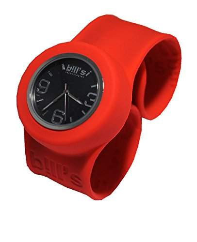 Bills Classic Watch Kombi Silikon Uhr Slap Band Unisex, Herren, Damen, Kinder, fluorotes Band, schwarzer Uhreneinsatz Analog Quarz