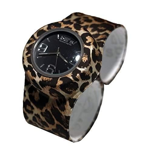Bills Classic Watch Silikonuhr SlapBand Unisex Analog, leopard Band,schwarzerUhreneinsatz